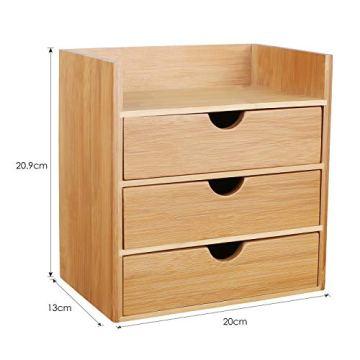 Homfa Bambus Schreibtisch Organizer 20x13x21cm Aufbewahrungsbox Organisation Stiftebox Stifteköcher Stiftehalter Schreibtischorganizer - 2