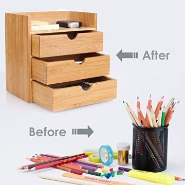 Homfa Bambus Schreibtisch Organizer 20x13x21cm Aufbewahrungsbox Organisation Stiftebox Stifteköcher Stiftehalter Schreibtischorganizer - 3