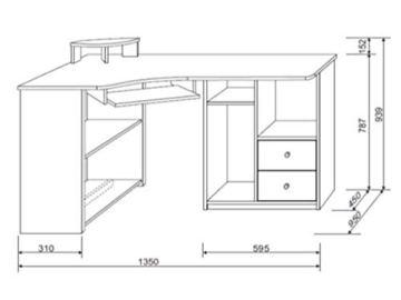 möbelando Eck-Schreibtisch Bürotisch Computertisch Winkelschreibtisch Büromöbel Marcel I Sonoma-Eiche/Weiß - 2