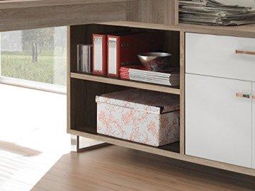 möbelando Winkelschreibtisch Schreibtisch Büroschreibtisch Eckschreibtisch Margate I Sonoma-Eiche/Weiß - 3