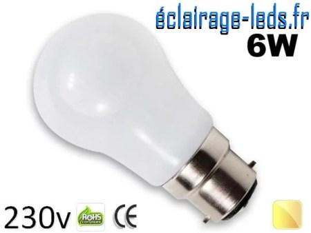 Ampoule led B22 liquide 6w SMD blanc chaud 3000K 230v AC ref f004-4