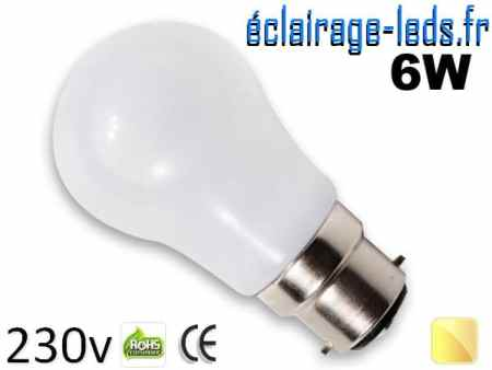 Ampoule led B22 liquide 6w SMD blanc chaud 3000K 230v