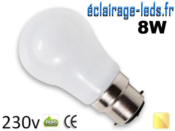 Ampoule Led B22 liquide 8w blanc chaud IP65 230v