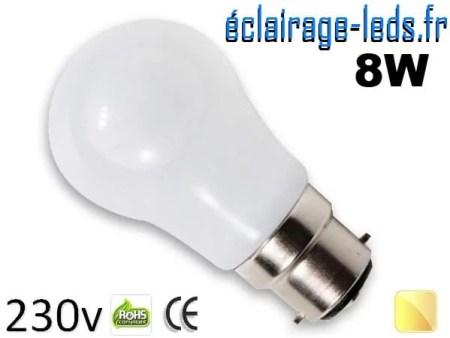 Ampoule led B22 liquide 8w SMD blanc chaud 3000K 230v AC ref f005-3