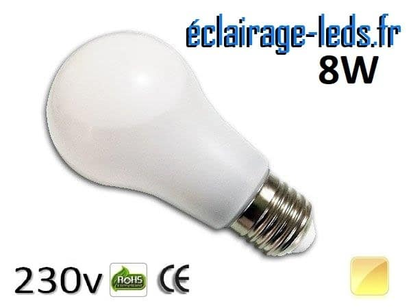 Ampoule Led E27 liquide 8w blanc chaud IP65 230v