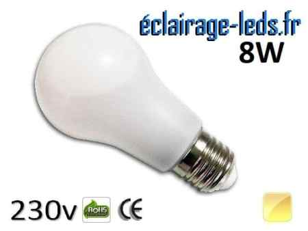 Ampoule led E27 liquide 8w SMD blanc chaud 3000K 230v AC ref f005-2