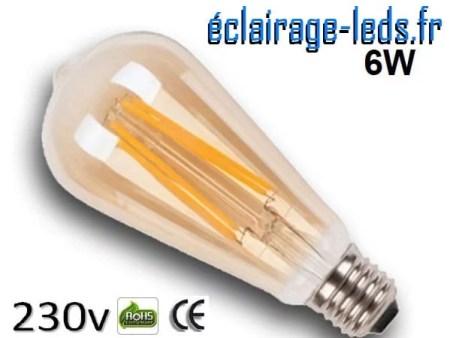 Ampoule led E27 vintage 6w COB Filament blanc chaud 2300K 230v AC ref e273-1