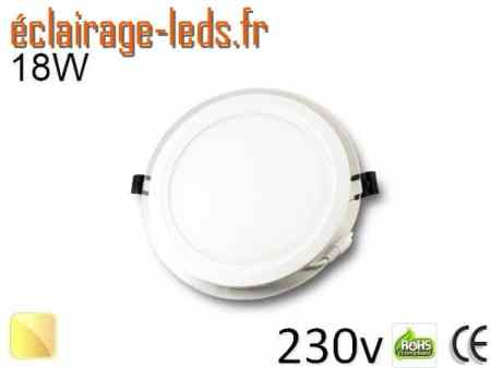 Spot LED Slim 18w blanc chaud 230v