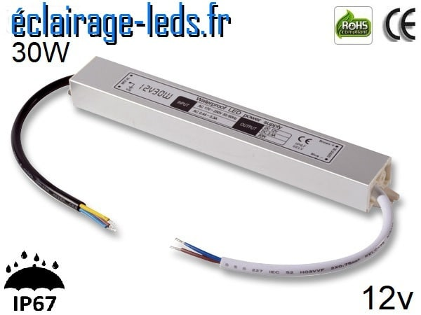 transformateur led 12v dc 30 watts ip67