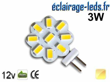 Ampoule led G4 Flower 9 led blanc chaud 12v