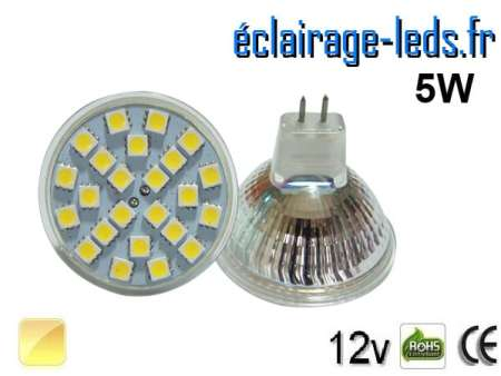 Ampoule LED MR16 24 led smd 5050 blanc chaud 12v