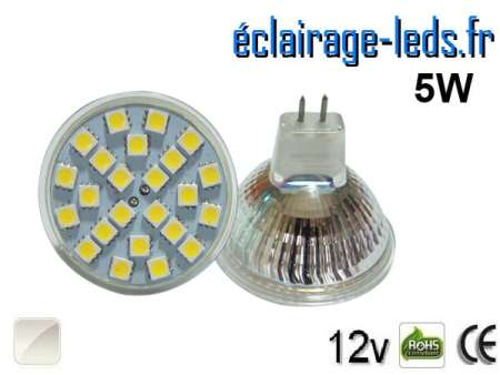 Ampoule LED MR16 24 led smd 5050 blanc naturel 12v