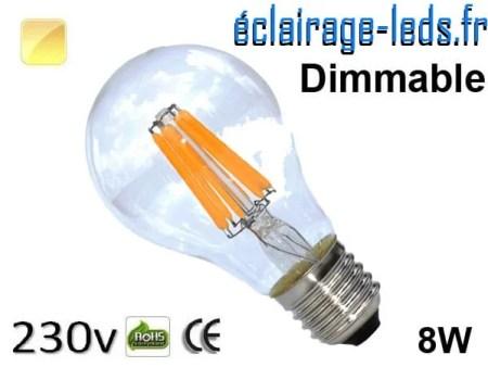 Ampoule LED E27 filament 8w dimmable blanc chaud 230v