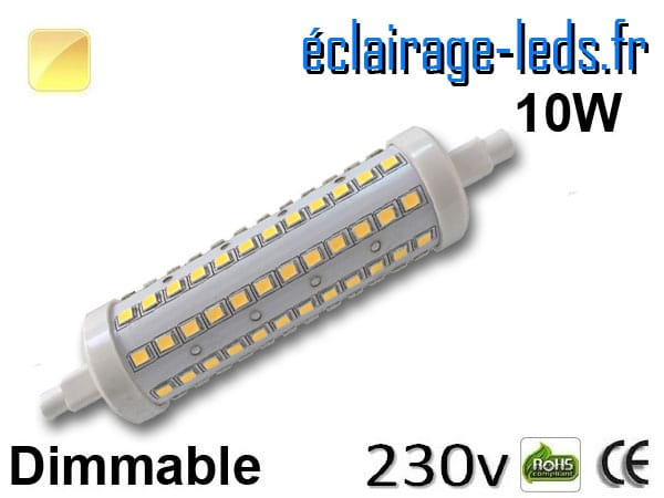 ampoule led r7s dimmable 10w 118mm blanc chaud 230v - eclairage-leds.fr