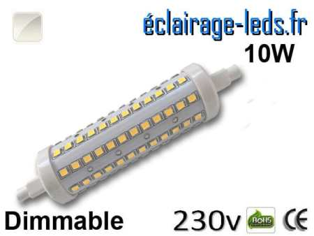 Ampoule LED R7S dimmable 10w 118mm blanc naturel