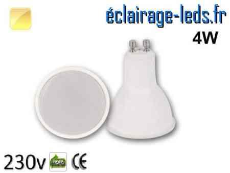 Ampoule LED GU10 translucide 4w blanc chaud 230v
