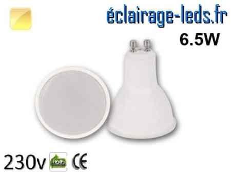 Ampoule LED GU10 translucide 6.5w blanc chaud 230v