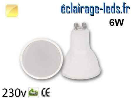 Ampoule LED GU10 6w blanc chaud 230v