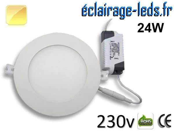 Spot LED 24W ultra plat SMD2835 blanc chaud perçage 280mm 230v