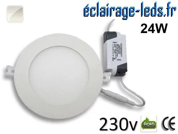 Spot LED 24W ultra plat blanc naturel perçage 280mm 230v