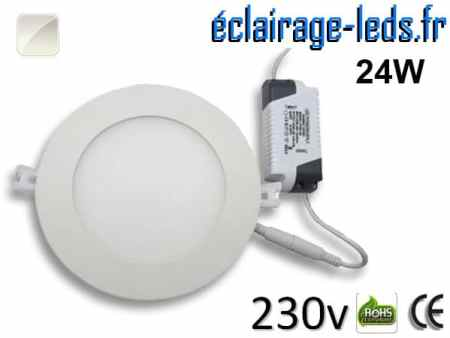 Spot LED 24W ultra plat blanc naturel perçage 280mm 230v