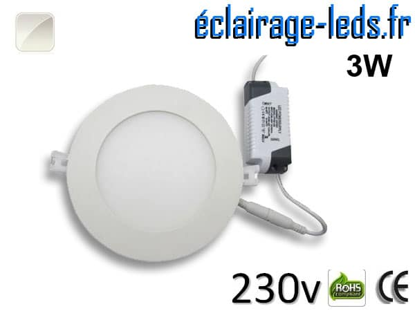 Spot LED 3W ultra plat SMD2835 blanc naturel 230v