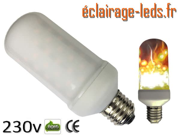Ampoule led E27 7w blanc chaud 1500K 230v AC ref e281-1