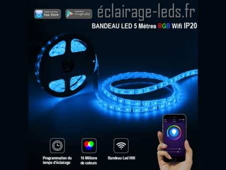 bandeau à led rgb de 5m wifi ip20 12v