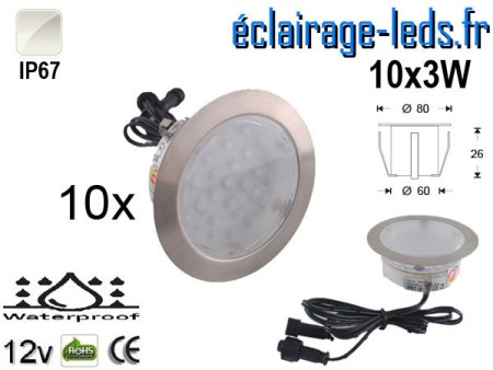 Kit 10 spots LED encastrables Mur et Sol 30w blanc naturel 12v