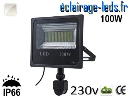 Projecteur LED extérieur 100w IP66 détecteur de présence Blanc 230v