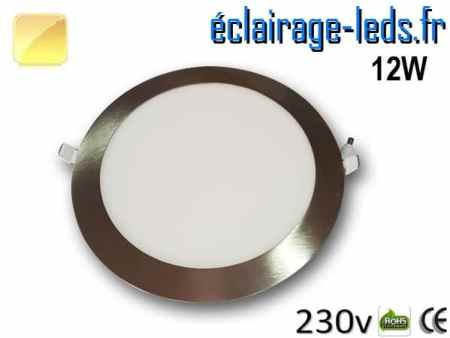 spot led chrome 12W ultra plat SMD2835 blanc chaud perçage 155mm 230v