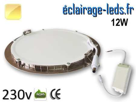 spot led chrome 12W ultra plat SMD2835 blanc chaud perçage 155mm