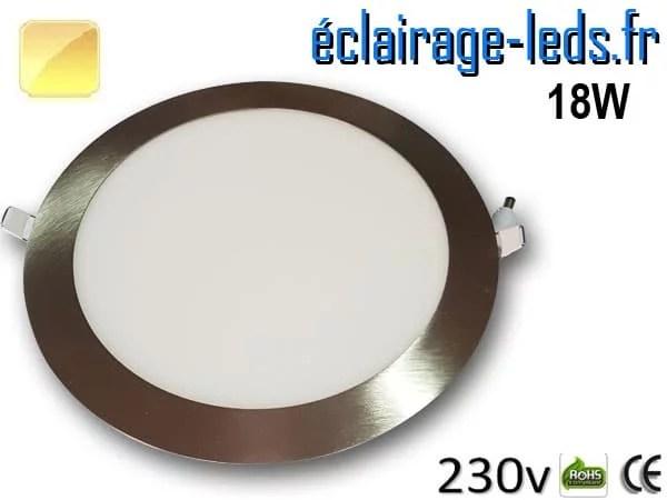 spot led chrome 18W ultra plat SMD2835 blanc chaud perçage 205mm 230v