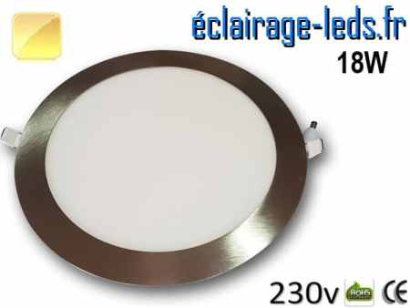 spot led chrome 18W ultra plat SMD2835 blanc chaud perçage 205mm 230v