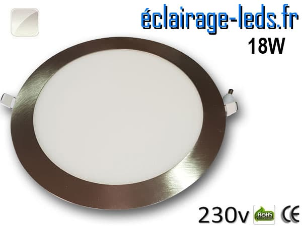 spot led chrome 18W ultra plat SMD2835 blanc naturel perçage 205mm 230v