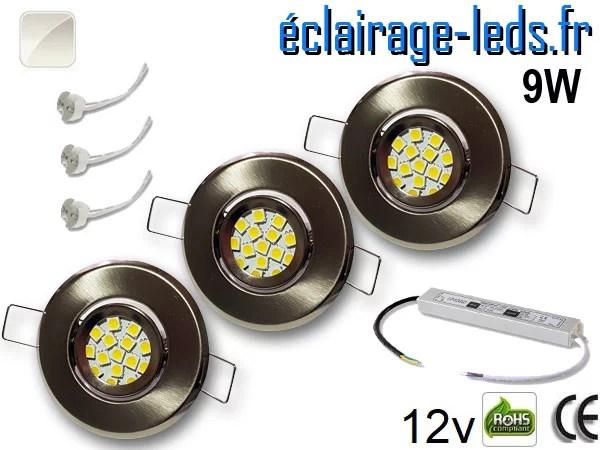 Kit Spot MR11 orientable chrome 12 LED blanc naturel perçage 53mm 12V