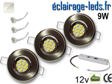 Kit Spot MR11 orientable chrome 12 LED blanc naturel perçage 53mm 12V