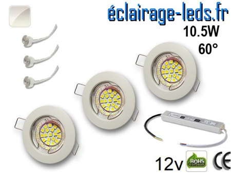 Kit Spot MR16 fixe blanc 18 LED blanc naturel 60° perçage 60mm 12V