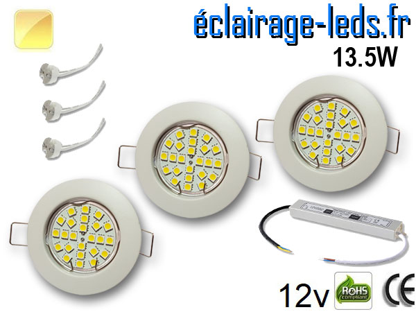 Kit Spot MR16 fixe blanc 21 LED Blanc chaud perçage 60mm 12V