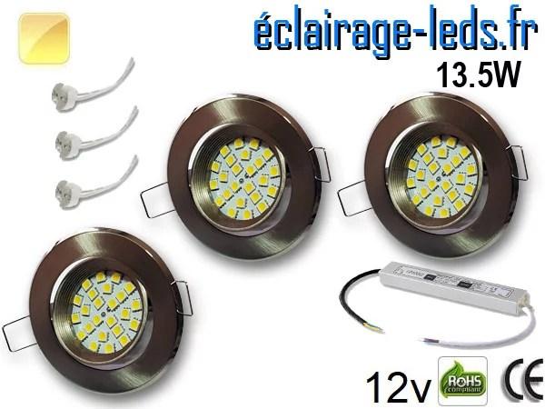 kit Spot MR16 orientable chrome 21 LED blanc chaud perçage 70mm 12V