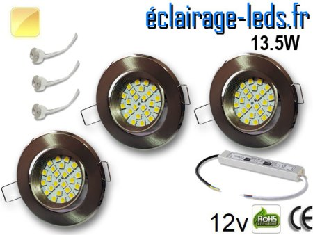 kit Spot MR16 orientable chrome 21 LED blanc chaud perçage 70mm 12V
