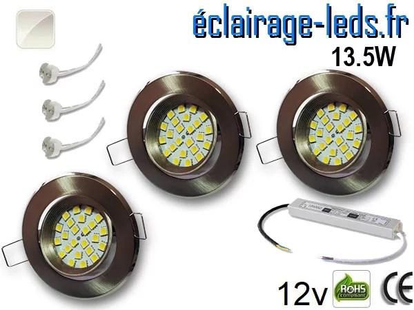 kit Spot MR16 orientable chrome 21 LED blanc naturel perçage 70mm 12V