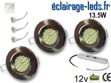 kit Spot MR16 orientable chrome 21 LED blanc naturel perçage 70mm 12V