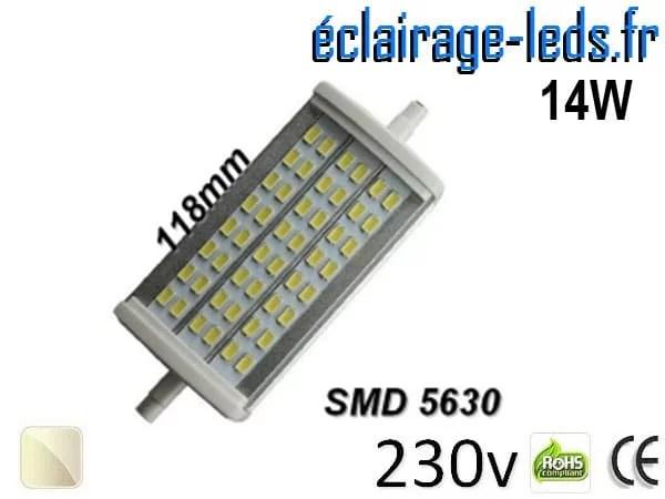 Ampoule LED R7S 14w smd 5630 118mm blanc naturel 230v