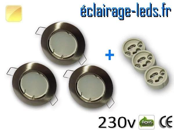 Kit Spots LED GU10 Blanc chaud encastrable fixe chrome perçage 60mm