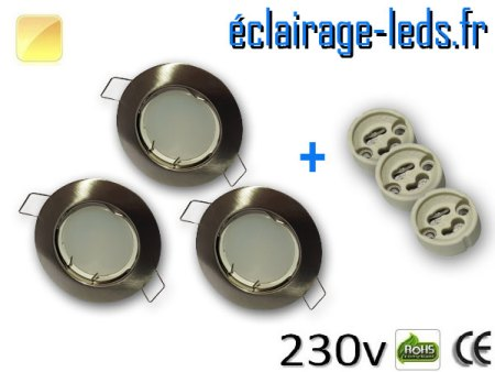 Kit Spots LED GU10 Blanc chaud encastrable fixe chrome perçage 60mm