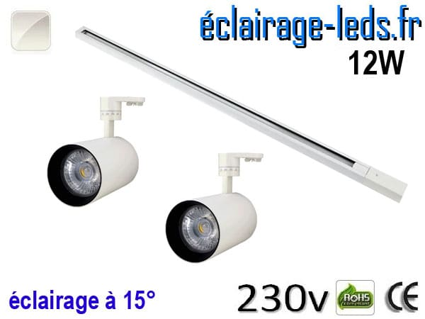 2 Spots LED blanc sur rail 12w 15° blanc naturel 230v