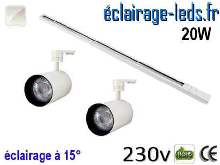 2 Spots LED blanc sur rail 20w 15° blanc naturel 230v