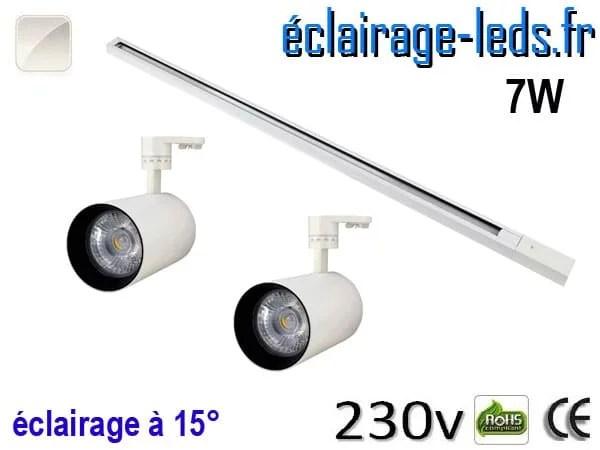 2 Spots LED blanc sur rail 7w 15° blanc naturel 230v
