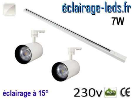2 Spots LED blanc sur rail 7w 15° blanc naturel 230v